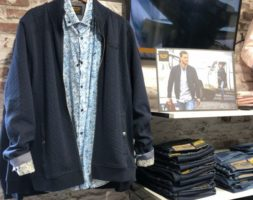 Strickjacke blau mit Hemd