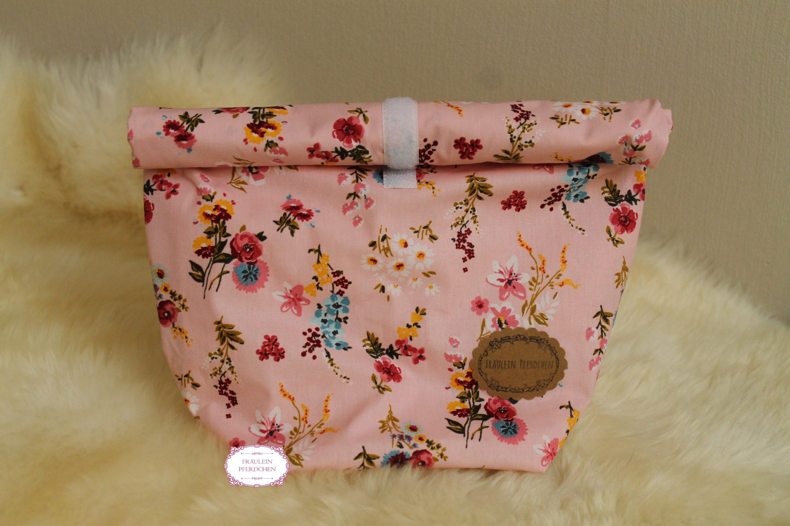 Große Lunchbag ~ Rosa mit Blumen