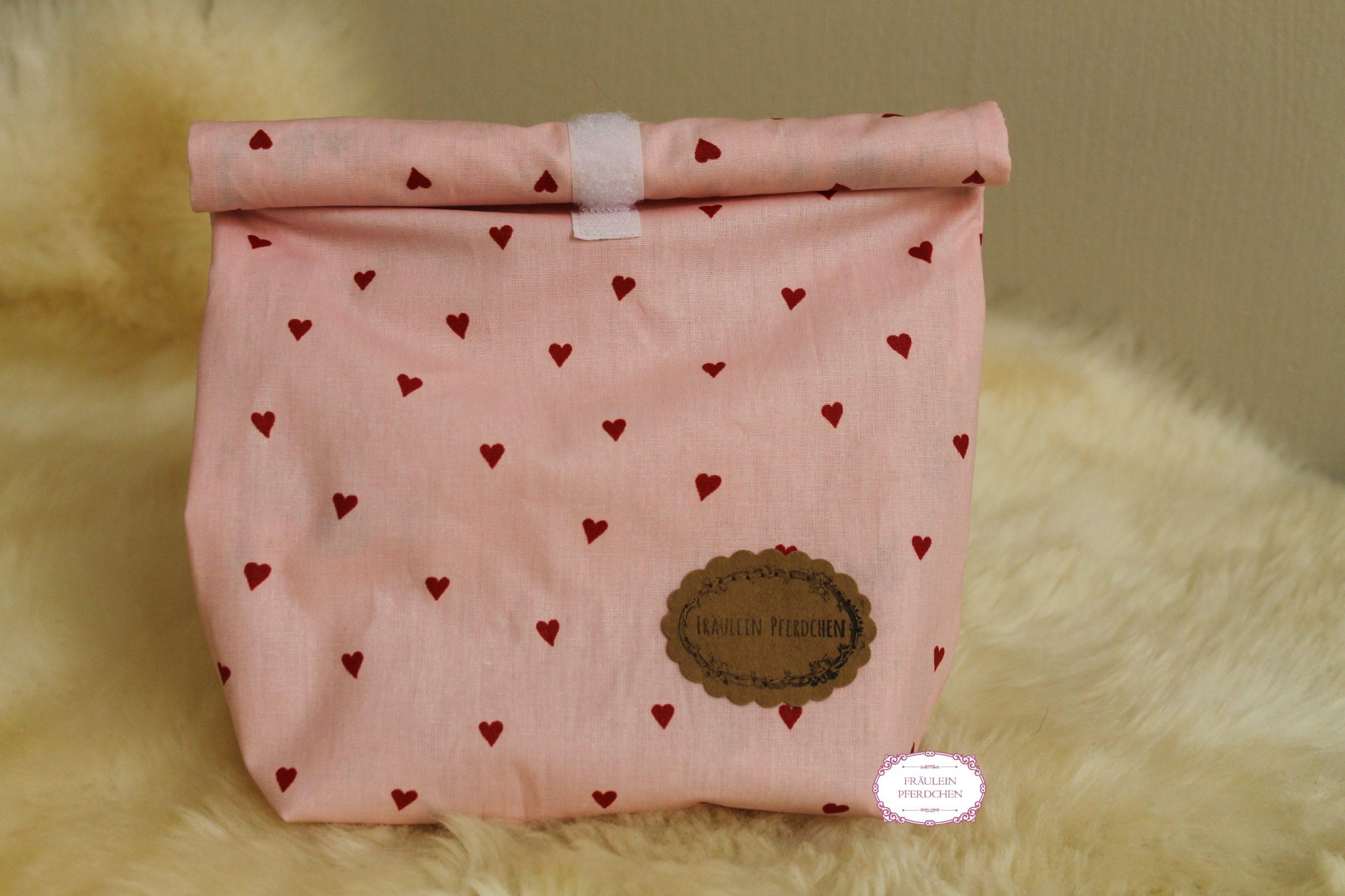 Kleine Lunchbag ~ Rosa mit Herzen