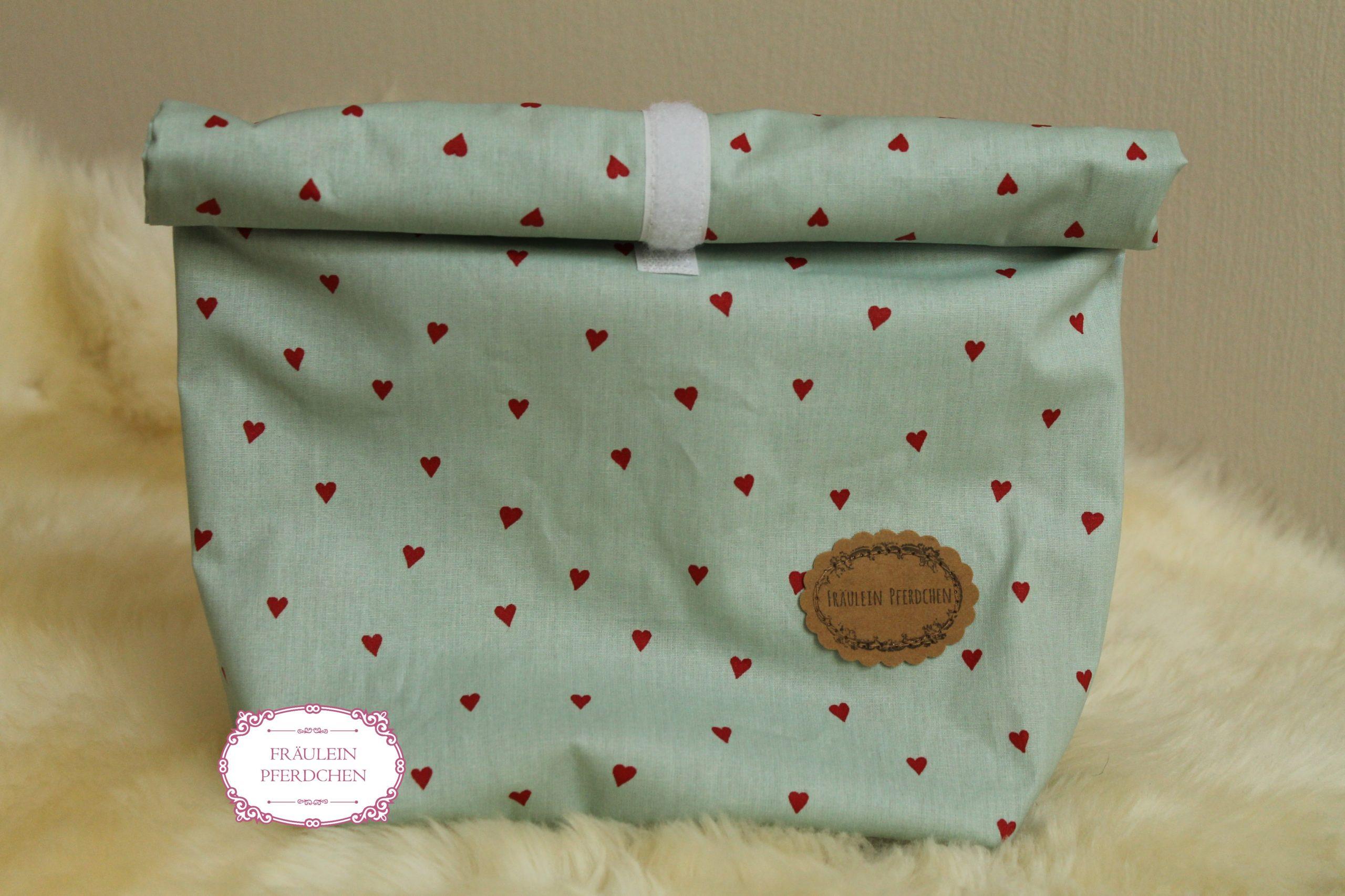 Große Lunchbag ~ Mint mit Blumen