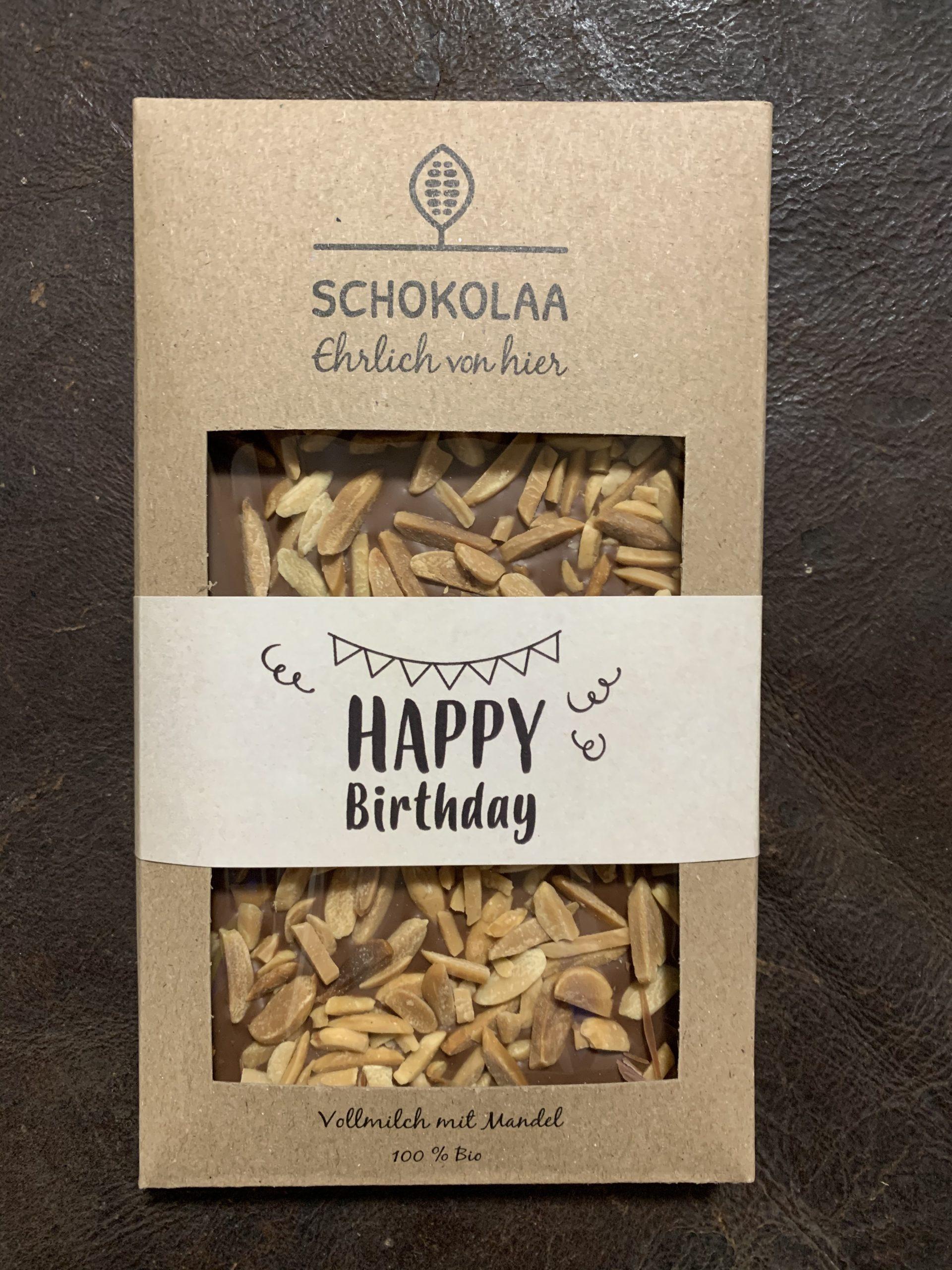 Happy Birthday – Bio Vollmilchschokolade mit Bio Mandeln