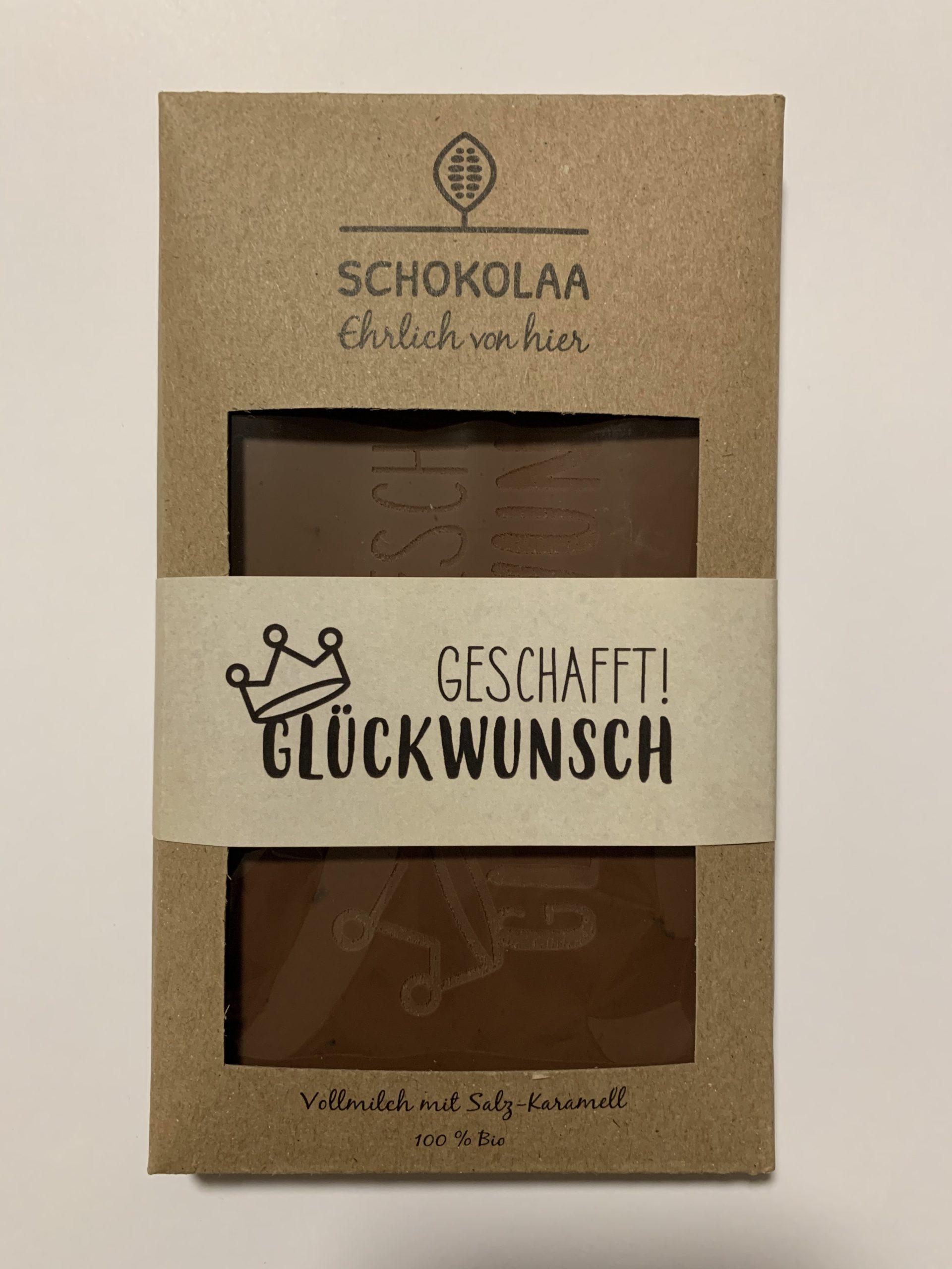 Geschafft Glückwunsch – Bio Vollmilchschokolade mit Salzkaramell