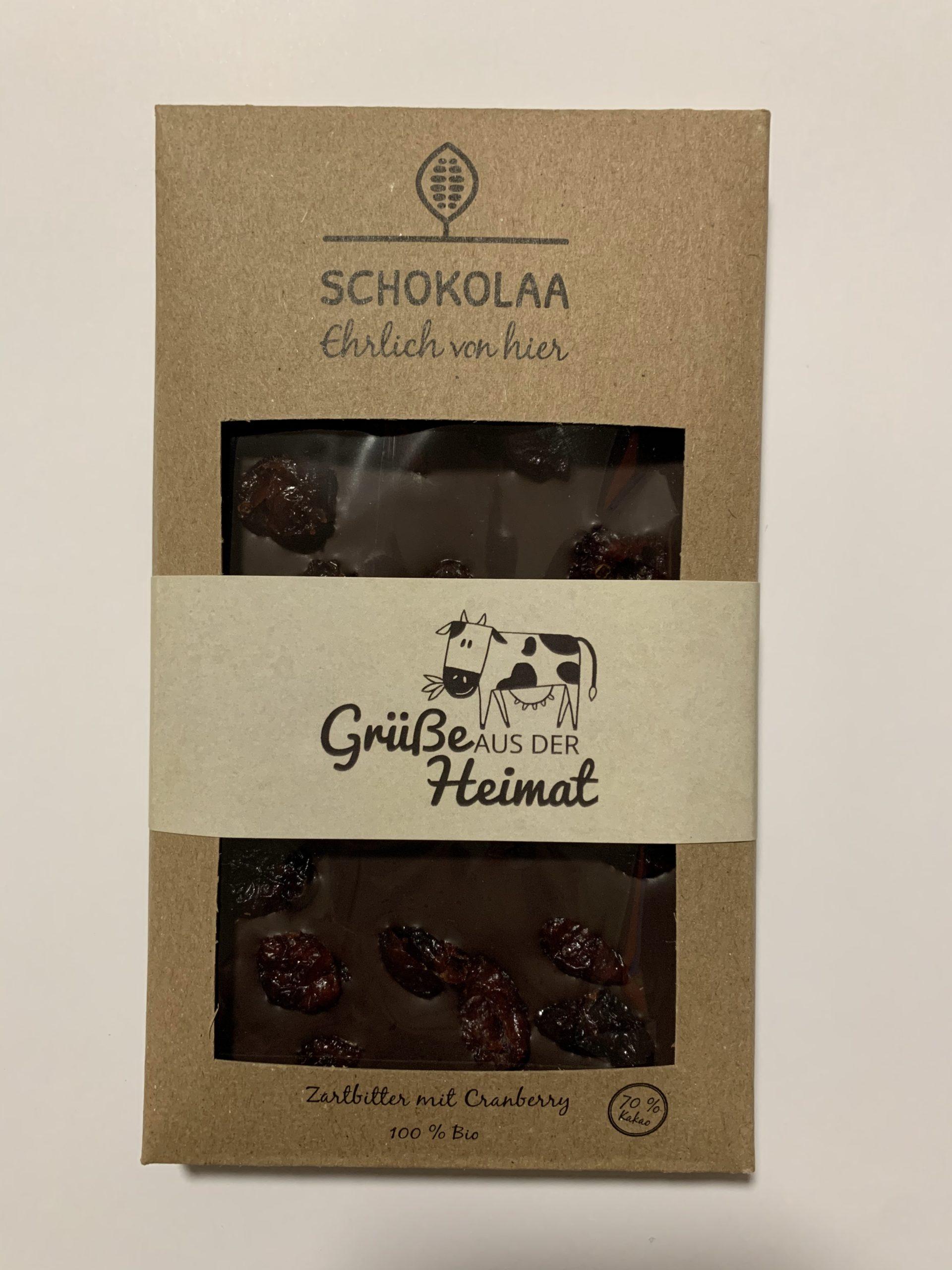 Grüße aus der Heimat – Bio Zartbitter Schokolade mit Canberry